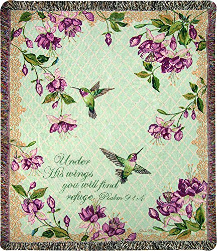 Manual Woodworkers & Weavers Tapestry Throw, Psalm 91:4, 50...