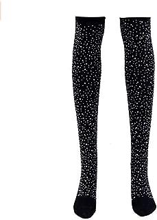 Women's Girls Stripe Diamond Glitter Over The Knee High Stockings Boot Socks