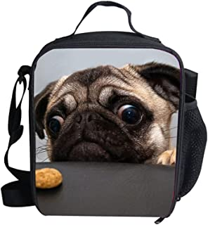 Cute Pet Pug Print Lunch Box For Kids Women Cool Warm Pouch Shoulder Strap Lunch Holder