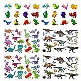 Oblique Unique® Dino Kinder Tattoo Set 94 Stück Farbenfrohe Temporäre Dinosaurier Tattoos zum Spielen Spielspass für Jungs zum Kindergeburtstag