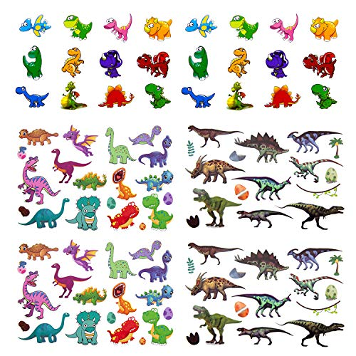 Oblique Unique® Dino Kinder Tattoo Set 94 Stück Farbenfrohe Temporäre Dinosaurier Tattoos zum Spielen Spielspass für Jungs zum Kindergeburtstag
