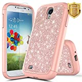 Galaxy S4 Case w/[Screen Protector HD Clear], NageBee Glitter Sparkle Shiny Bling Hybrid Protective Armor Soft Silicone Cover Cute Case Compatible with Samsung Galaxy S4 -Rose Gold