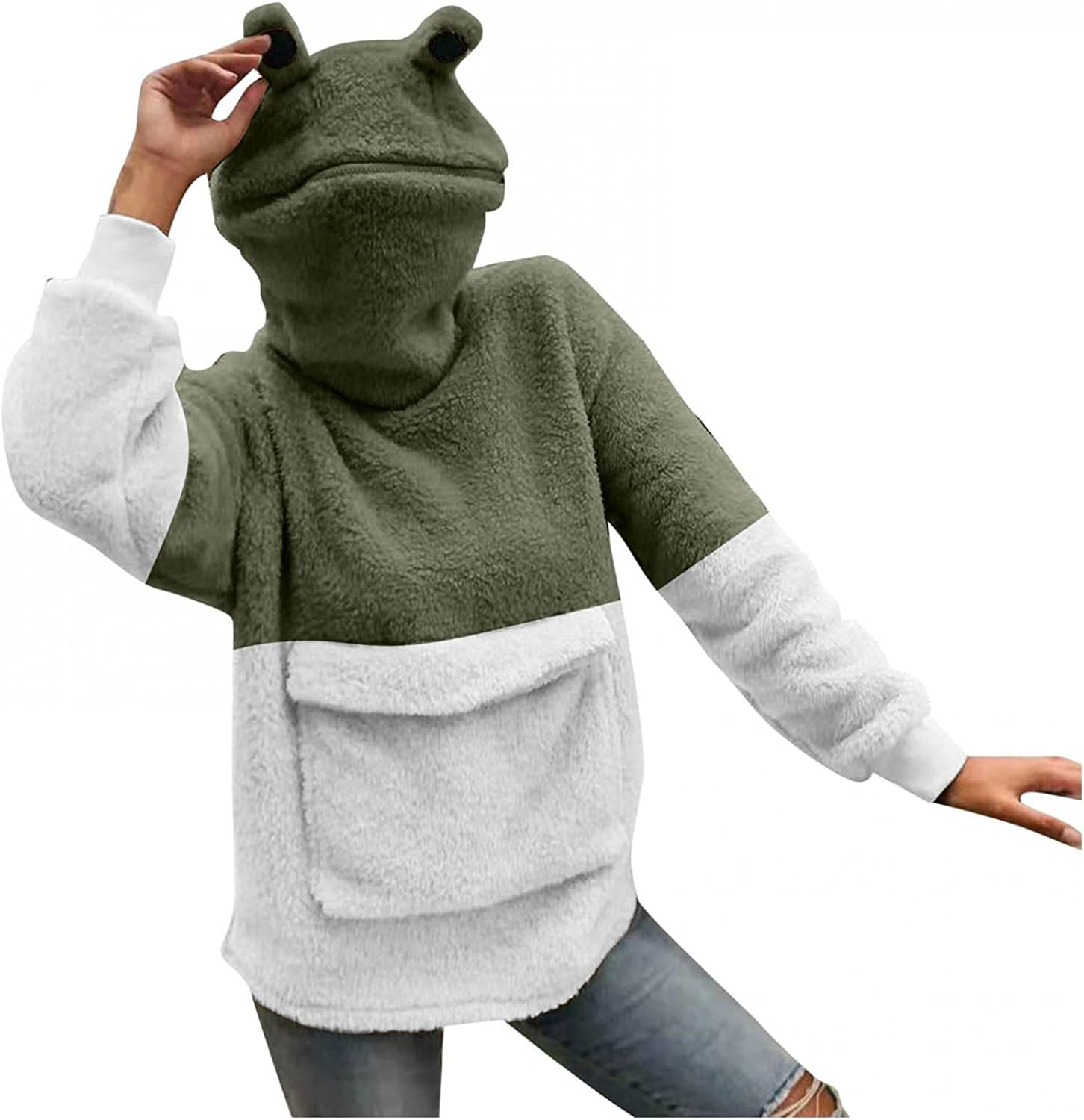 Women's Girl Frog Hooded Pullover With Zip Mouth Hat Patchwork Large Front Pocket Dinosaur Sweatshirt Rabbit Sweater