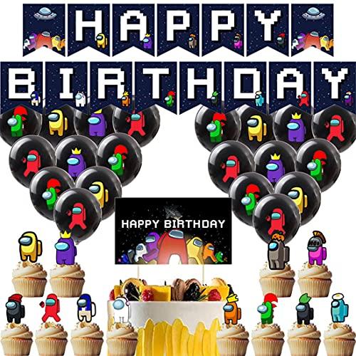 Among Us Decoración de fiesta - Tomicy Among Us de cumpleaños Accesorios para fiestas de cumpleaños para niños con guirnalda de cumpleaños feliz, decoración de tartas, globos para decoraciones
