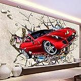 Wandbilder Fototapete 3D Red Auto Broken Wall Photo Fototapete Cartoon Kinder Schlafzimmer Wohnzimmer Moderne Wanddeko E Wanddeko Ation 200 * 140Cm