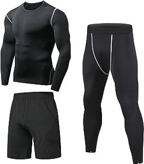 3 Piezas Conjunto de Compresion Hombre, Camisetas Compression Mallas Running Pantalon Corto Deporte Ropa Deportiva Hombre para Running, Correr, Gym, Fitness