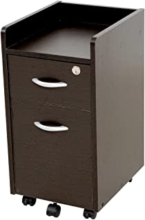 LOWYA サイドチェスト キャビネット 袖机 デスクサイド収納 オフィス スリム設計 ブラウン