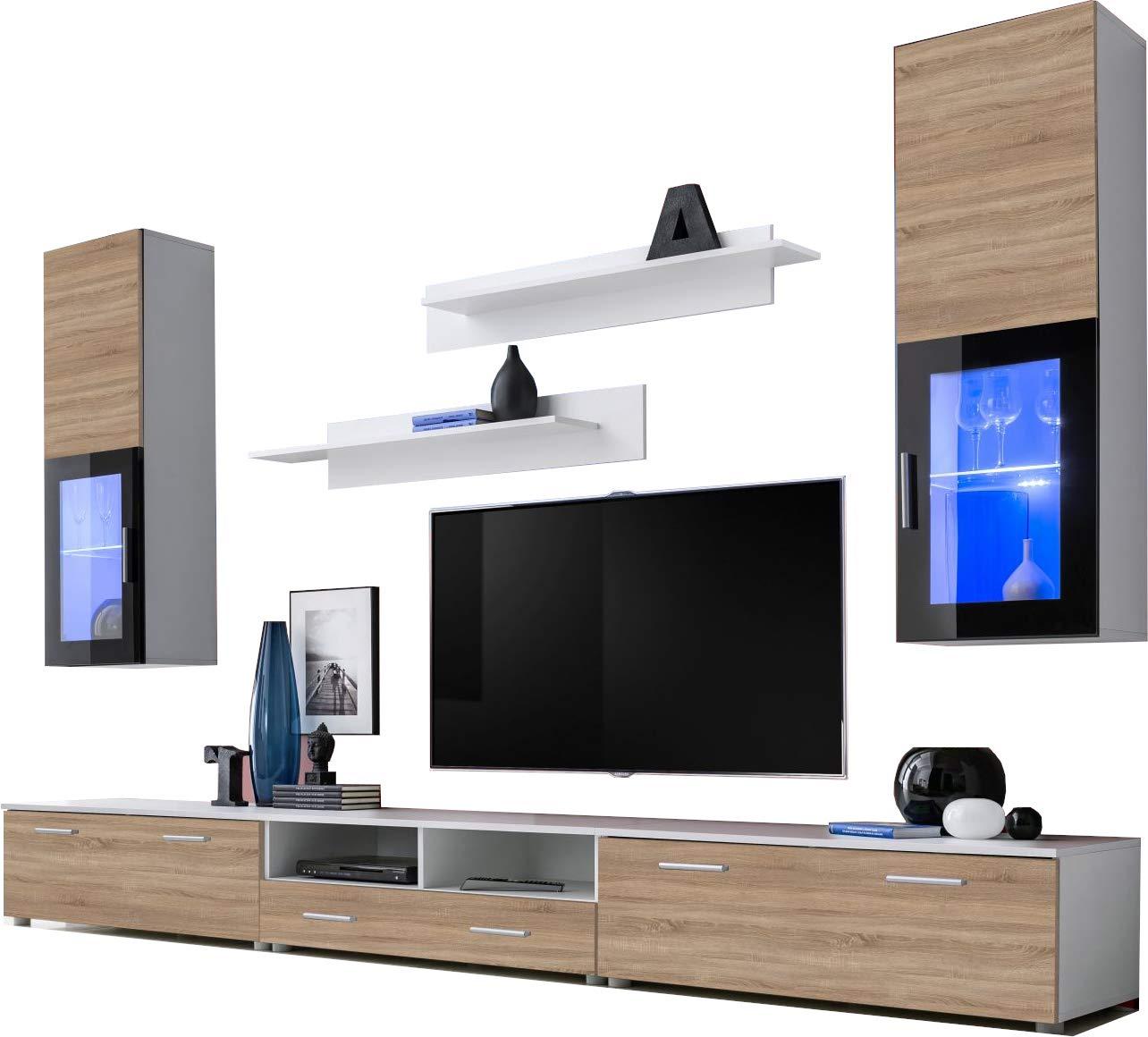 ExtremeFurniture Lincoln Mueble para TV, Carcasa en Negro Mate/Frente en Roble Sonoma Mate + LED Azul: Amazon.es: Hogar