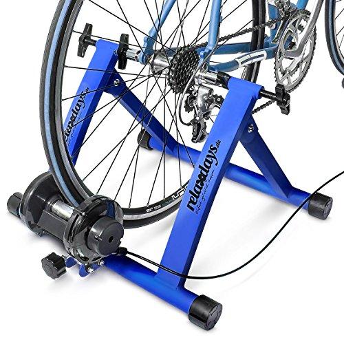 Relaxdays Simulateur de vélo pliable avec 7 niveaux de résistance Rouleau réglable Bleu