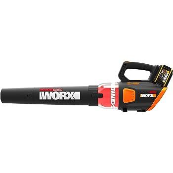 colore: Nero//Arancione batteria e caricatore monocomando 20 V Worx WG547E.9 Soffiatore a batteria con tecnologia a turbina da 20 V due livelli di velocit/à