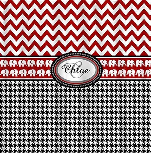 ArthuereBack Personalisierte Duschvorhang Custom mit Ihrem Namen oder Initialen inspiriert rot schwarz Hahnentritt Elefant Akzent
