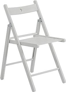 Silla plegable - Madera - Blanco