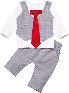 bilison Baby Boys Gentleman Outfits Suits Necktie Shirts Vest Pants Tuxedo Wedding Clothes Sets