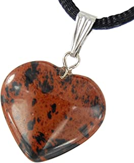 Steampunkers USA Big Heart Collection - 20mm Classic Mahogany Obsidian Black Brown - 20-22 inch Black Cord – Crystal Gemstone Carved Necklace Charm Handmade