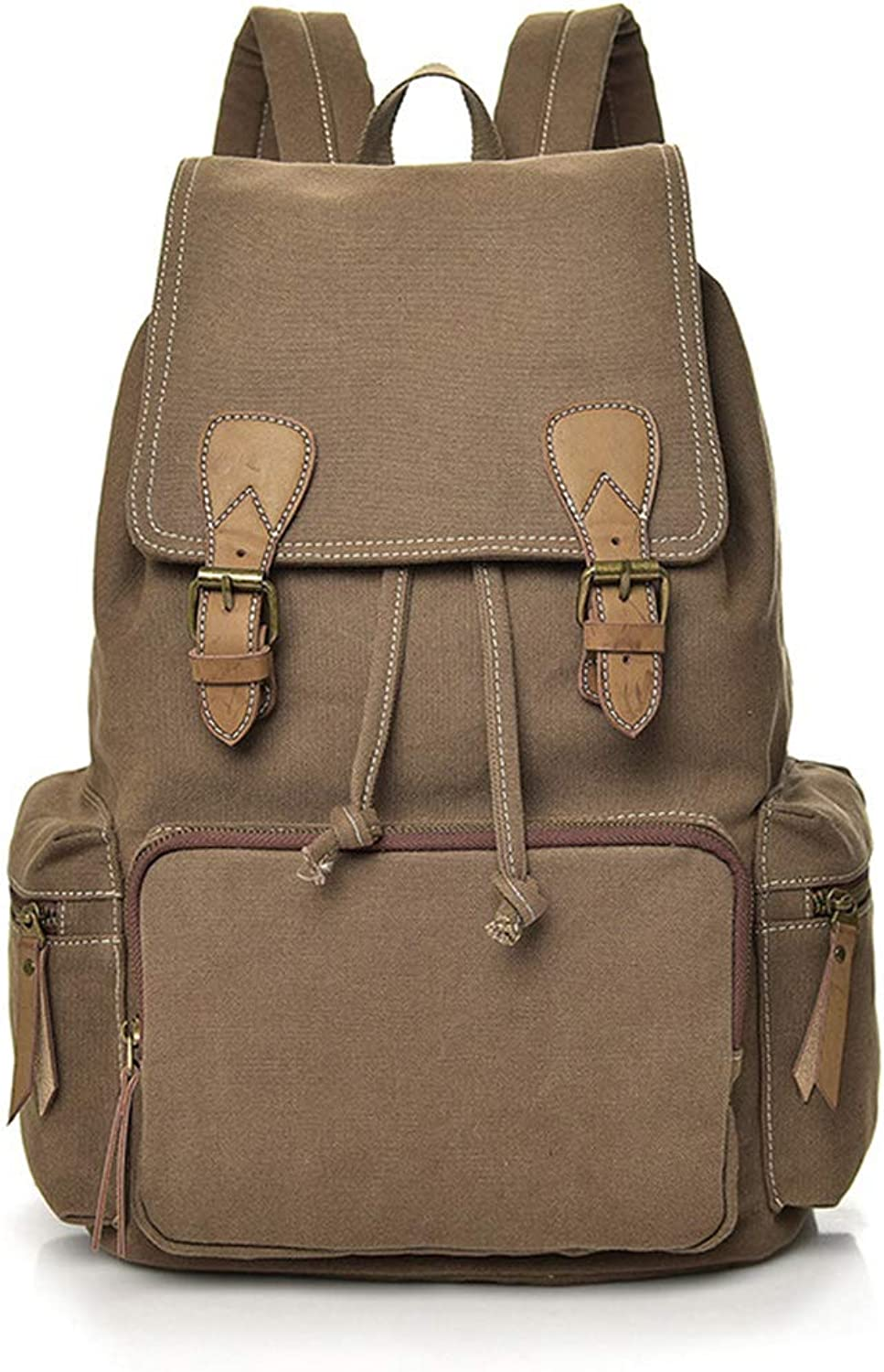 Carriemeow Backpack Backpack Leisure High School Student Bag Durable Breathable Canvas Travel Bag Computer Bag Men Backpack (color   Coffee color)