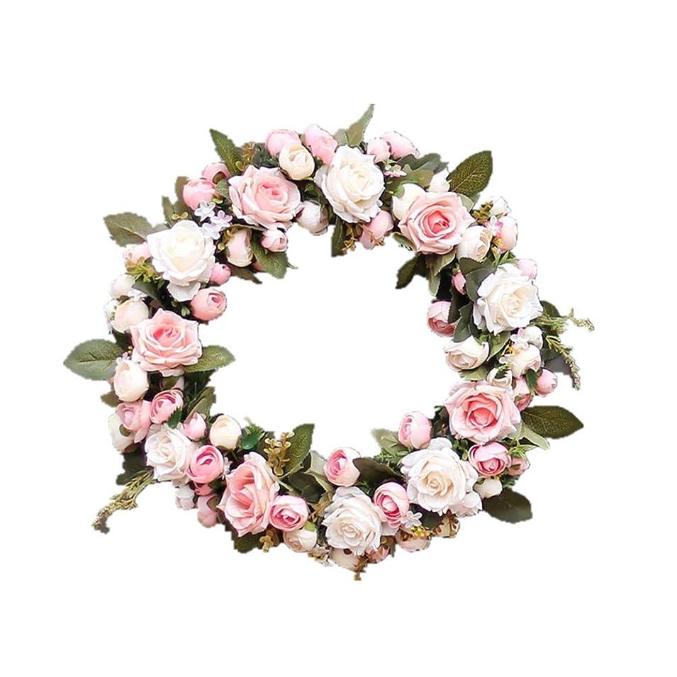 君主制にもかかわらず忌み嫌うRaiFu 花輪 リース 牡丹 45CM エレガント ピンク 牡丹 ガーランド Floriation 装飾 造花 ドア ウェディング 吊り下げ ドア飾り 壁飾り 玄関飾り 平野飾り 祝日 結婚式 クリスマス おしゃれ