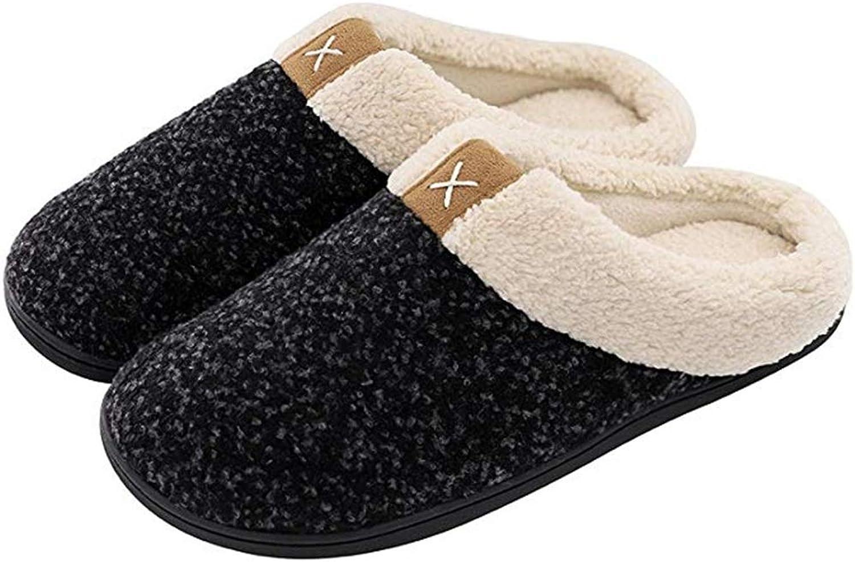 Women's Men's Slippers Men's Comfort Cotton House shoes Indoor, Outdoor Anti-Skid Rubber Sole House shoes Indoor Outdoor (color   D, Size   M)