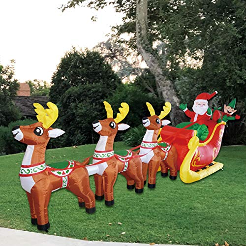 GOOSH Christmas12 Foot Inflatable Santa Reindeer Sled Outdoor Decoration Claus LED Lights Indoor Lawn Decoration - Cute Fun Xmas Blow Up Yard Decorations