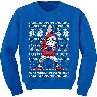 Tstars Ho Ho Home Run Ugly Christmas Santa Claus Baseball Player Youth Kids Sweatshirt