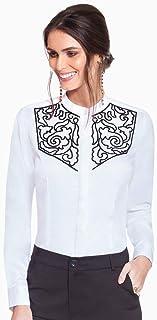 Camisa Social Feminina Branca com Bordado Principessa Magda