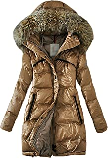 LvRao Womens Thick Puffer Coats for Winter Long Warm Down Parka with Faux Fur Hooded Slim Fit Outerwear Quilted Coats