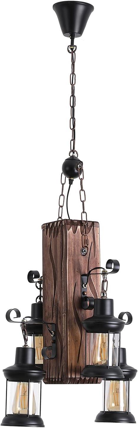 4 Lights Retro Limited price Loft Lantern Industrial Vintage Chandelier Wooden Complete Free Shipping