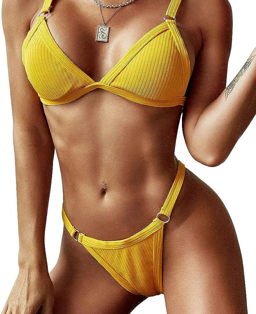 ZAFUL Women's Straps Textured Ribbed Front Closure High Cut Bikini Set Swimsuit