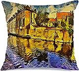 Funda de almohada decorativa de poliéster puente Brujas Canal colorido Bélgica City Van Oil Gogh pintura ladrillo paisaje urbano vintage lugares de interés cuadrado cojín funda de almohada, 43 x 43 cm