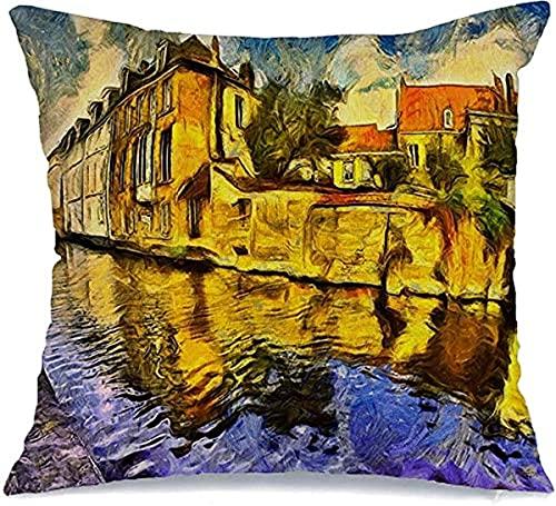 """Funda de Almohada Decorativa de poliéster Puente Canal de Brujas Colorido Bélgica Ciudad Van Oil Gogh Pintura Ladrillo Paisaje Urbano Vintage Monumentos Cojín Cuadrado Funda de Almohada, 18""""x18"""