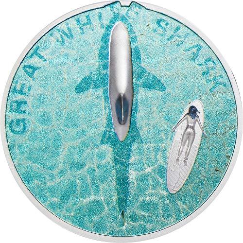 Power Coin Great White Shark Gran Tiburon Blanco 1 Oz Moneda Plata 5$ Palau 2021