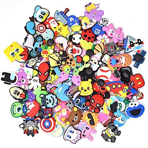 ZSWQ 100 Pcs Different PVC Shoe Charms,Charm decorativo Mix color Colori e stili casuali,for Shoes & Bracelet Wristband Kids Party Birthday Gifts