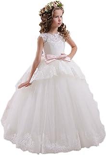 018c347dbdb63 KekeHouse® Robe Longue de Cérémonie Fille Enfant Mariage Anniversaire Fête Sans  manches Dentelle Arc