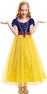 Girls Snow White Christmas Costume Fairytale Princess Dress Up Cosplay Party Ball Evening Gown 5-15T