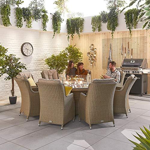 Nova Outdoor Living Thalia - Juego de comedor de ratán con 8 asientos y mesa redonda de 1,8 m, Willow