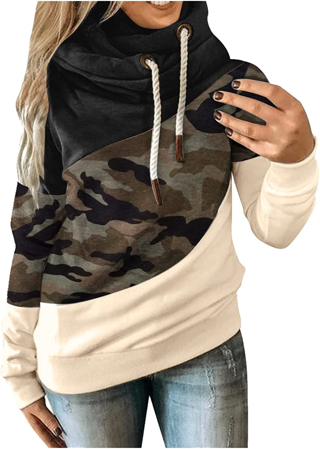 Women Hoodie Sweatshirt Tops Fall & Winter Stitching Color Turtleneck Drawstring Hooded Casual Warm Pullover