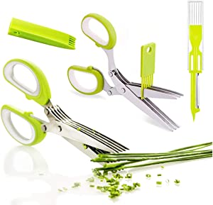 2 Packs Kitchen Herb Scissors Stainless Steel, 5 Blade Kitchen Cutting Shears with Safety Cover and Cleaning Comb,Stainless Steel Herb Shears for Chopping Fresh Green Onion, Cilantro, Basil