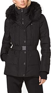 Michael Michael Kors Women's Logo Belted Hood Faux Fur Trim Puffer Coat Short Jacket Lightweight Black