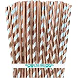 Rose Gold Solid and Stripe Foil Paper Straws - 7.75 Inches - 100 Pack - Outside the Box Papers Brand