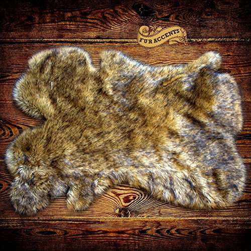 Brown Spotted Lynx, Lion, Wolf, Coyote Fur Rug Shag Pelt Rug Faux Flokati Pelt Suede Lined (2'x3')