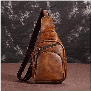 Mens Bag Leather Shoulder Bag Messenger Bag Men's Portable Diagonal Backpack Color Handmade Leather Bag Retro Men's Chest Bag High capacity