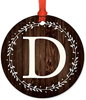 Andaz Press Round Metal Keepsake Ornament, Rustic Wood Laurel Wreath Monogram Initial Letter D, 1-Pack, Wedding Bridesmaid's Gifts, Family Christmas Tree, Includes Ribbon and Gift Bag
