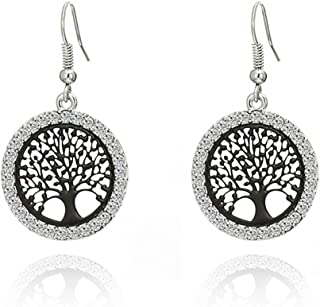 Tree of Life Dangle Earrings for Women,Rose Gold Silver Drop Earring for Girls Hypoallergenic Earring with Shining CZ Crystal