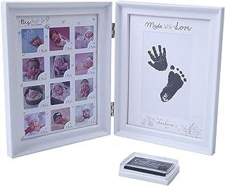 Baby Clay Print Photo Frame,Handprint and Footprint Plaster kit, Picture Frame Keepsake Frames Memorable Keepsakes Decorat...