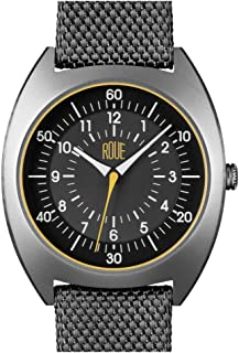 HDS Men's Watch, 1980s German Industrial Design, 41.5mm Sand Blasted Stainless Steel case, Silicone + Nylon Front/Leather Back Straps, Sapphire Crystal with Anti-Reflective Treatment Glass