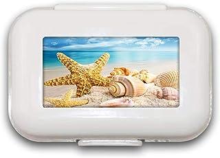 Seastar Seashell Sea Beach Sand Pill Box Pill Case Pill Organizer Decoratieve Boxen Pill Box voor Pocket of Purse - 8 Comp...