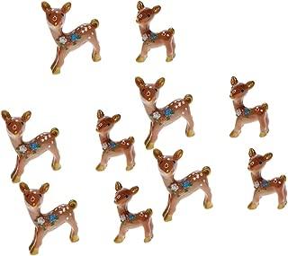 Flameer Miniature Garden Decor - 10 pcs Cute Deer Figurines Miniatures Fairy Garden Crafts Decoration Accessories
