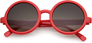 Classic Retro Horn Rimmed Neutral-Colored Lens Round Sunglasses 52mm (Red/Lavender)