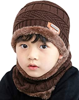 2 PCS Kids Boys Girls Winter Hat and Scarf Set, Warm Snow Knit Beanie Slouchy Skull Cap and Circle Scarf (Coffee)