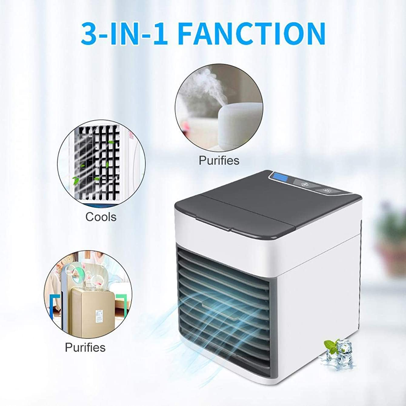 KOKOBUY Portable Air Conditioner Fan, Mini Evaporative Air Cooler, Portable USB Mini Desktop Fan with 3 Speeds for Office Household Outdoors