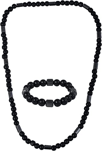 DzineTrendz Onyx Magnetic Necklace and bracelet Combo Jewellery Good health for Men Women CMNI8149